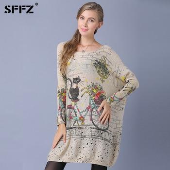 цена на SFFZ Long Oversized Cat Bicycle Print Sweater Women Casual Coat Batwing Sleeve Print Woman Sweaters Pullovers Wool Blend Dress