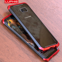 SFor Samsung Galaxy S8 Case LUPHIE Luxury Metal Transparent Tempered Glass PC 3 In 1 Bumper