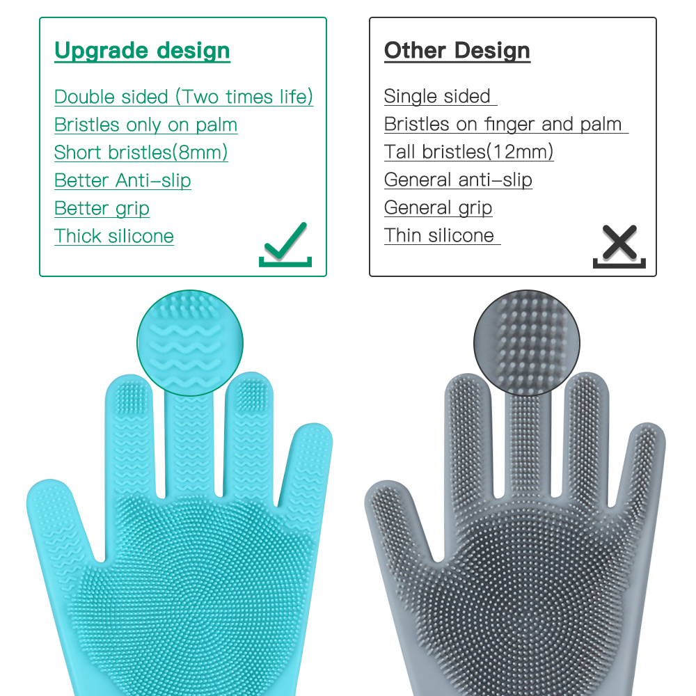 Double Sided Scrubbing Magic Silicone Gloves for Washing Kitchen Rubber Cleaning the Home,Quality Zone Upgraded Premium