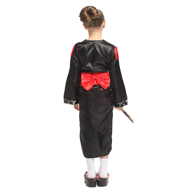 Japanese Traditional Kimono Robe Kids Child Geisha Girl Costume Cosplay Halloween Carnival Mardi Gras Party Fancy Dress 4