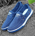 Vintage Denim Canvas Shoes Fashion Fashion Men's Loafers Driving Shoes British Flag Lace Up Breathable Mens Shoes FREE SHIPPING