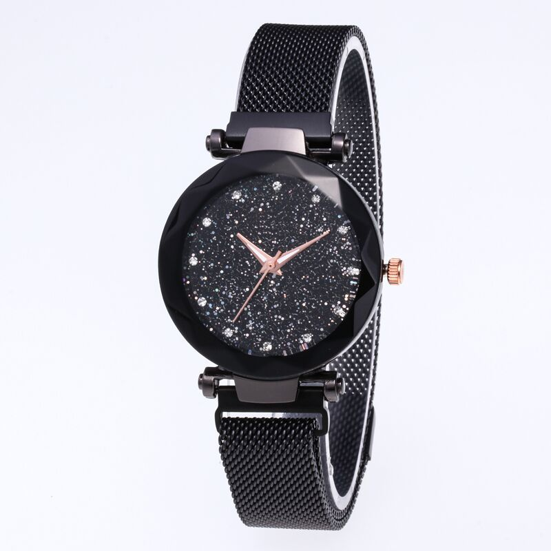 Luxury Women Watches Rose Gold Mesh Ladies Clock Magnet Buckle Starry Diamond Geometric Surface Casual Dress Quartz Wristwatch lingerie top