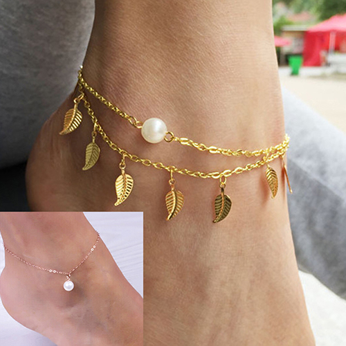 Bluelans Leaf Tassels Pearl Rose Gold Ankle Chain Foot Bracelet
