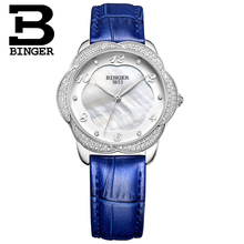 Switzerland Binger Women's watches diamond luxury top clock leather strap quartz waterproof Wristwatches B3028