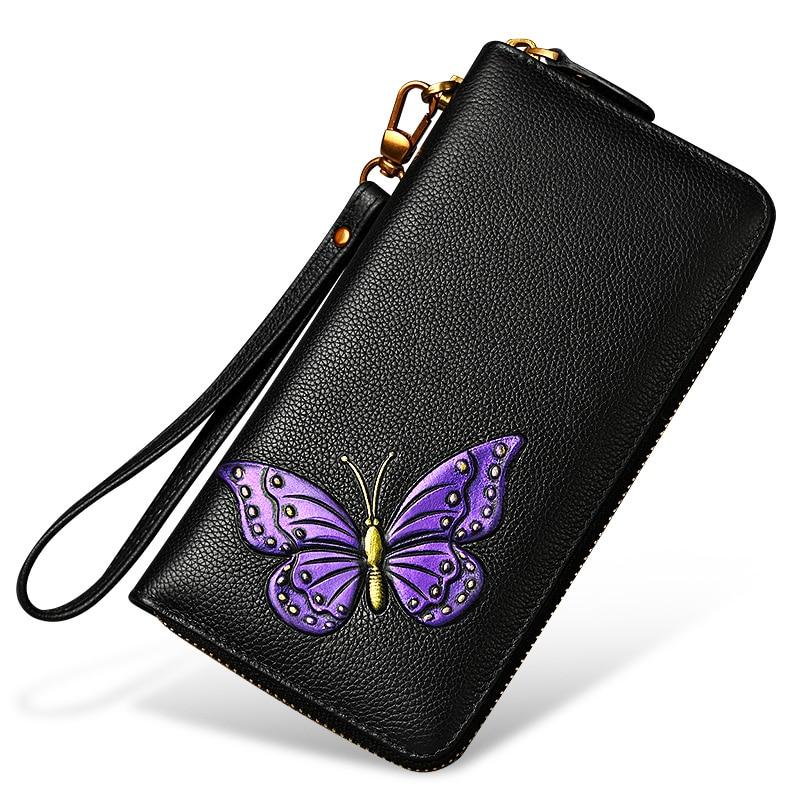 Genuine Leather Women Wallet Portemonnee Luxury Butterfly Purse Fashion Flower Clutch Bag Female Long Wallet Carteras Mujer
