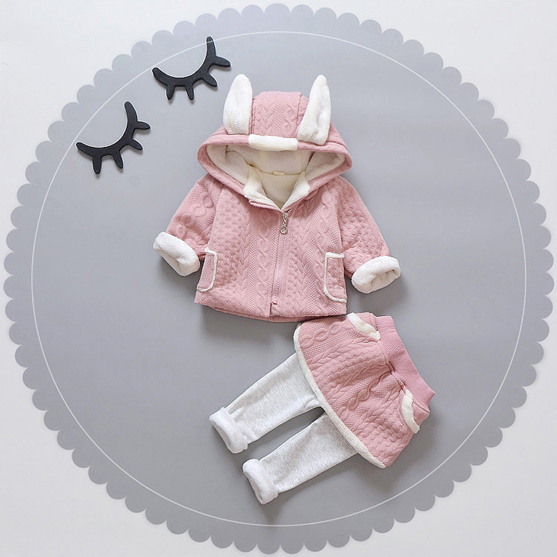 New Baby Girl Clothes Winter Long-Sleeved Zipper Dobby Cute Toddler Kids Warm girls child set TWO PIECES THICKNESS new cute baby toddler kids boys girls knitted crochet beanie winter warm hat cap skullies