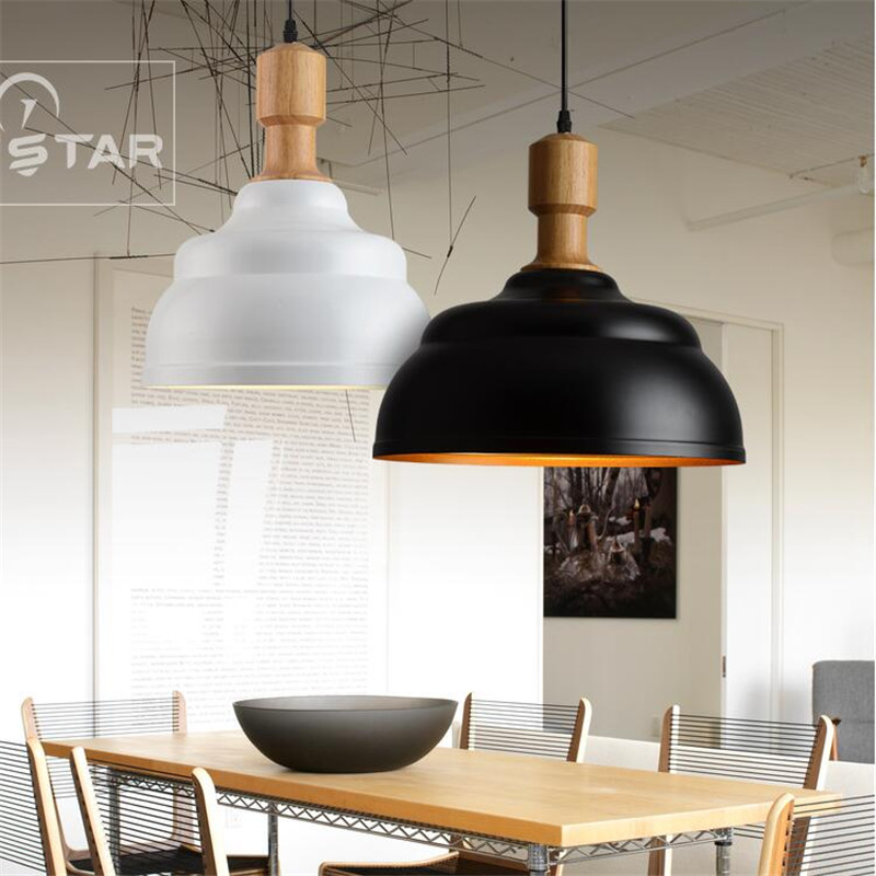 Modern Europe Brief Black White Iron Wood Led E27 font b Pendant b font Light for