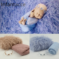 newborn photography props blanket backdrops background faux fur baby photo prop cotton warp hairband set headband stretchy wraps