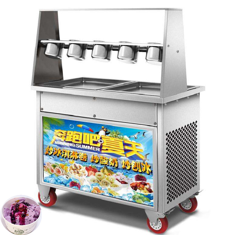 Double Compressor Thailand Fried Ice Cream Pan Machine High Quality Single Round Fry Ice Cream Maker Rolled Fried Ice Machine|Ice Cream Makers|   - title=
