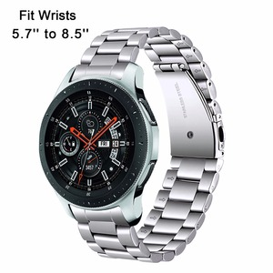 Image 2 - Premium Stainless Steel Watchband for Samsung Galaxy Watch 46mm SM R800 Sports Band Curved End Strap Wrist Bracelet Silver Black