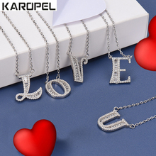 Fashion Cute Sweet AAA Cubic Zirconia Alphabet 26 Letters Pendant Necklace For Lady Women