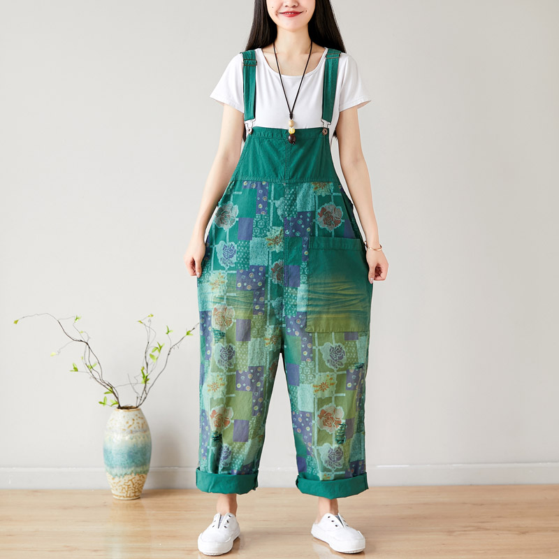 Women Denim bib trousers hanging crotch Jumpsuit Baggy large size Printed jean overalls Suspenders harem Rompers hip hop pants