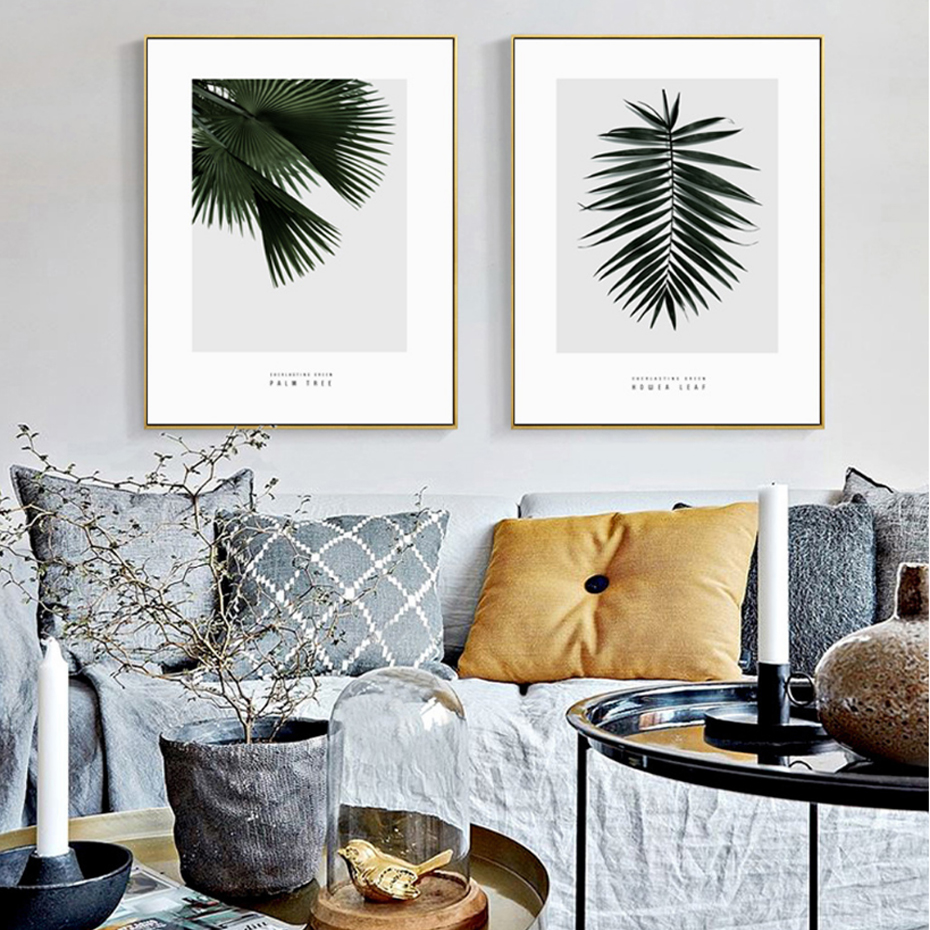 Landscape Natural Plant Leaf Canvas Paintings Nordic Wall Art ...