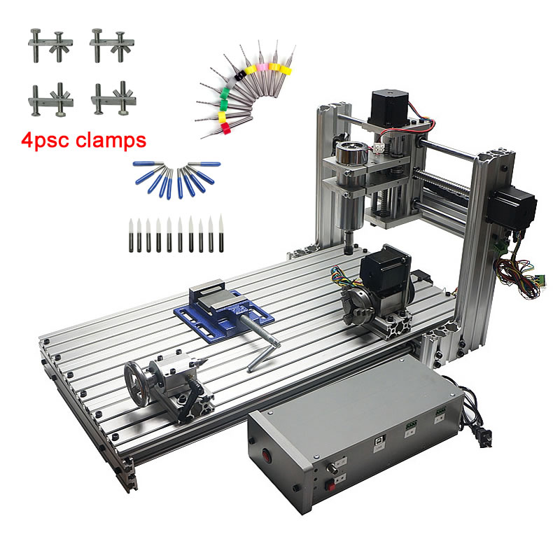 Diy Mini Table Cnc 4 Axis 3060 Pcb Wood Metal Milling Cutter Machine With Jaw Vice Clamps And Milling Bits Machinery