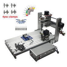 Diy mini table cnc 4 axis 3060 pcb wood metal milling cutter machine with jaw vi