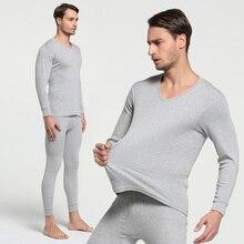 Зима, хлопок, круглый вырез, теплые кальсоны, набор для мужчин, ультра-мягкое однотонное тонкое термобелье, мужские пижамы, M-3XL