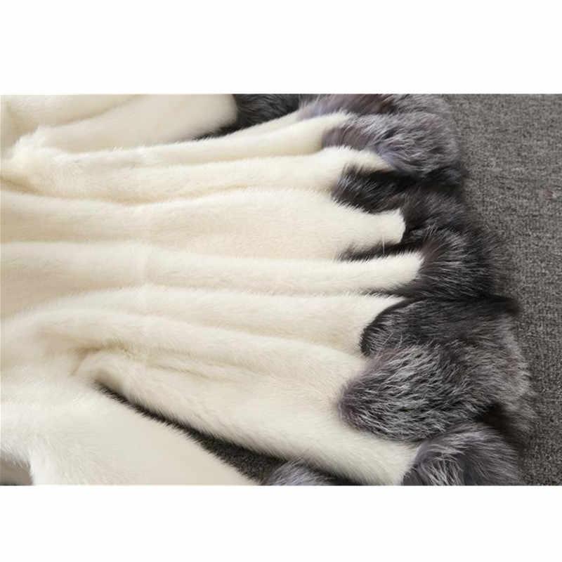 Женское пальто из искусственного меха 2018, осенне-зимнее Норковое Пальто, куртка с капюшоном и воротником из лисьего меха, большие размеры 6XL, женское меховое пальто OKXGNZ 1751