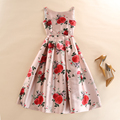 Elegant Women Clothing Vest A-line Dress Autumn Rose Flowers Print Casual O-Neck Tunic Party Dresses Plus Size vestido de festa