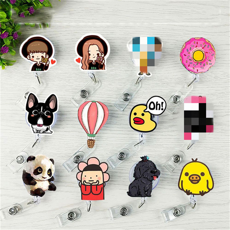 1Pcs Cute Mini Retractable Badge Reel Lanyards ID Name Card Badge Holder Nurse Buckle Name Tag Card Holder Key Ring Chain Clips