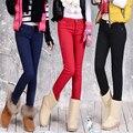 2016 Плюс Размер Женщин Брюки Брюки Зима Середина Талией Внешний Женская женская Мода Тонкий Конфеты Цвет Теплый Толстый Флис брюки