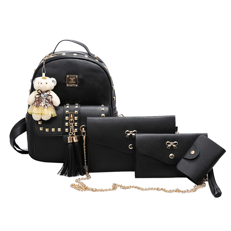 ФОТО  European and American style four bags Rivet and tassel backpack with doll Women fashion cute leisure baghigh quality travel bag