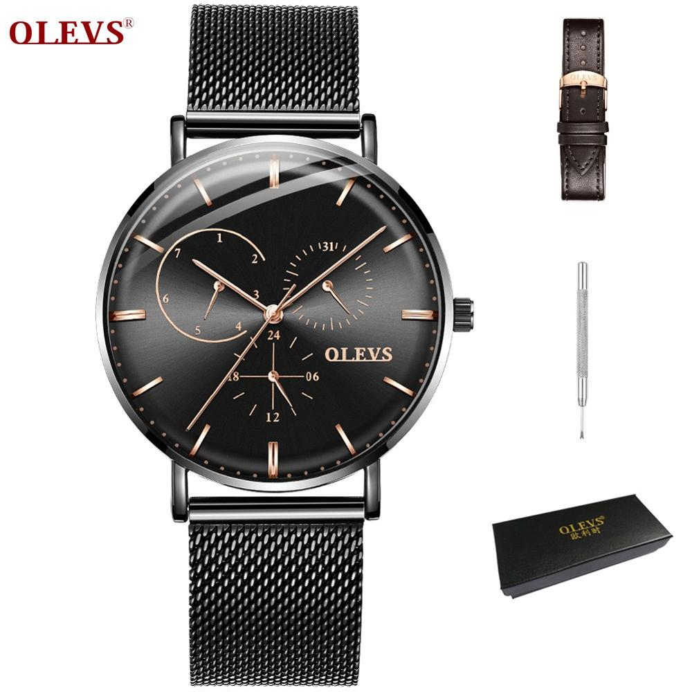 Business Mesh Stainless Steel Japan Quartz Black Watch Men Date Male Clock orologio uomo Thin Wristwatches For Man reloj hombre цены