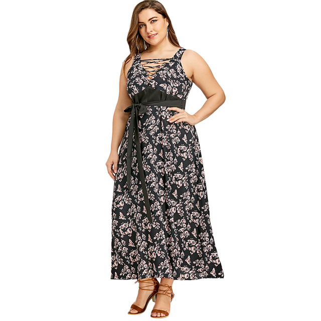 Gamiss Plus Size Criss Cross Floral Belted Dress V Neck Sleeveless