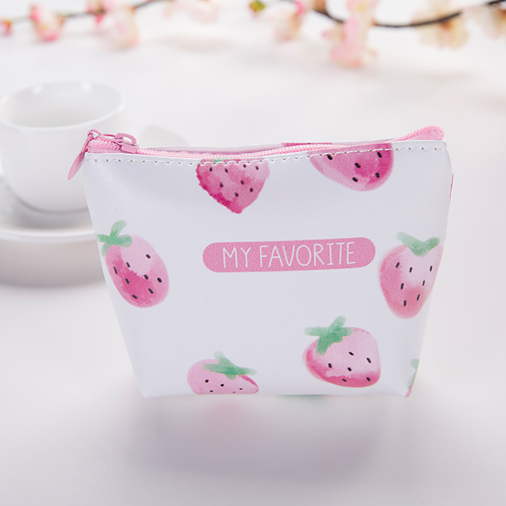 Coin Purses & Holders Womens Wallet Girls Cute Wallet Snacks Change Key Storage Bag Fruit Pattern Zipper Kawaii Womens Mini Bag Portamonedas Exquisite Craftsmanship;