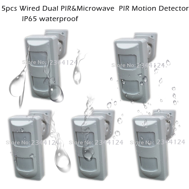 5pcs Wired 2 PIR+MW Outdoor Alarm Motion Detector With Anti Mask ...