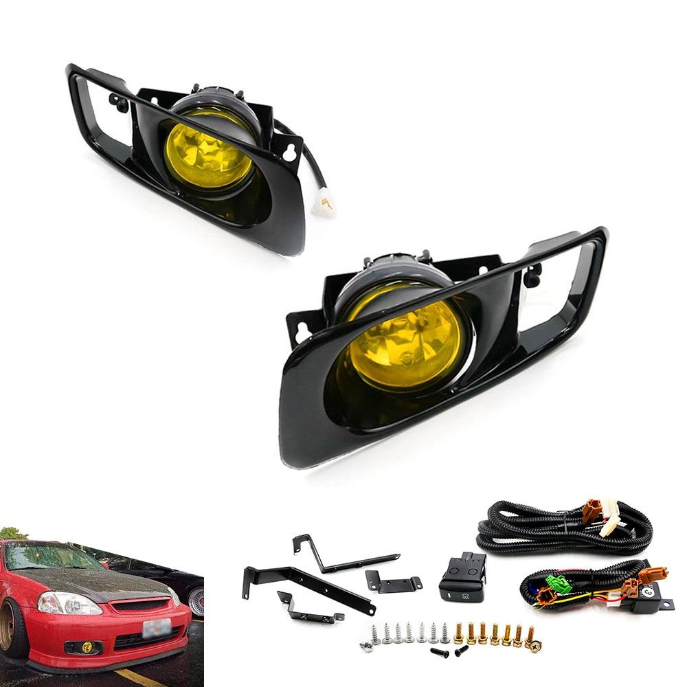 New Yellow /Clear Fog Light lamp Halogen fit 99 00 FOR HONDA CIVIC 2/3/4 dr EK EM JDM Kit EX DX LX SI SiR HB HX TT100479