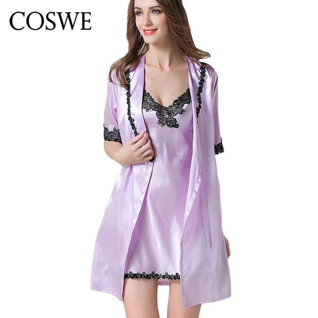 Aliexpress.com : Buy COSWE Womens Silk Robes Sets Lace Robe Set For ...