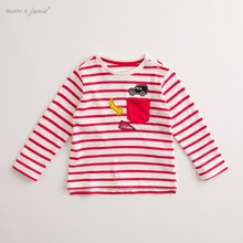 marc janie Autumn Infant Baby Boys' Cotton Tee Applique Striped T Shirt Toddler Children Clothes kids Lovely Tops 17829