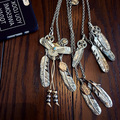 Male High-grade Goro 's Indian Eagle Gold Feather Necklace For Men's and Women Claw Long Necklace