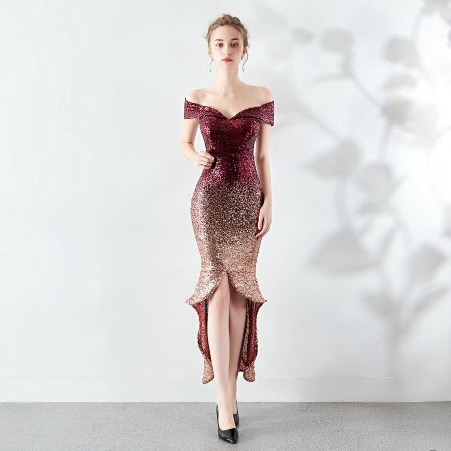 YIDINGZS New Arrive Women Elegant Sequin   Evening     Dress   Short Front Long Back Sparkle Party   Dress