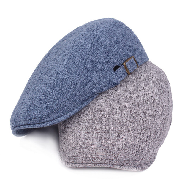 16cfcd99846 Cotton and Linen Men and Women Caps Retro Old Forward Caps Outdoor Travel  Hats Monochrome Newsboy Hat LU0283