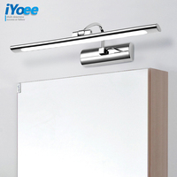 Modern Stainless Steel LED front mirror light bathroom makeup wall lamps led vanity toilet wall mounted sconces lighting fixture