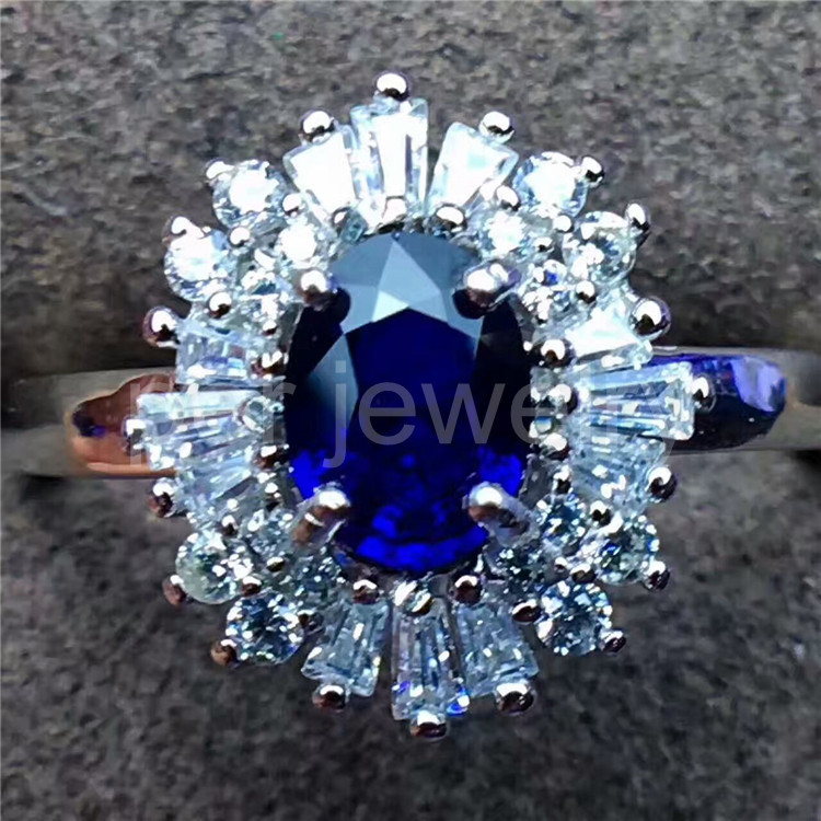 Natural blue sapphire ring 1CT gemstone Free shipping Natural real blue sapphire 925 sterling silver Shiny ring #X190118008