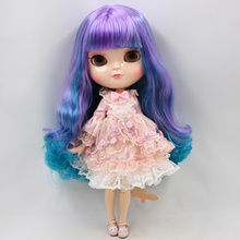 ICY Neo Blythe Doll Purple Cyan Hair Azone Jointed Body 30cm