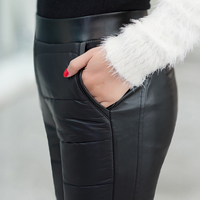 Added Skin Fall Winter Pants Women 2015 New Warm Feather Stitching Pants PU Leather High Waist