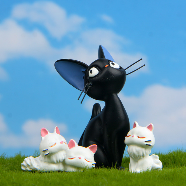 Resin Jiji's Delivery Service Cat Figurines White Animal Ornaments Black Cat Kiki Gigi Miniatures Fairy Garden Decoration Crafts 4