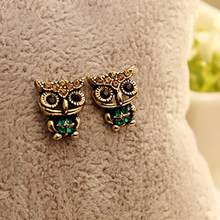 Fashion Style Owl Rhinestone Cute Vintage Ear Earrings 1 Pair Lovely Earrings For Women Jewelries Accessories Bijoux Sets(China)