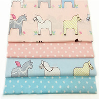 Adorable 40x50cm Brand New Pink Blue Cartoon Horses & Fivestar 100% cotton twill cotton Fabric Bundle for sewing doll cloth
