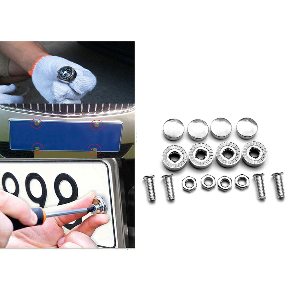 TOYOTA SECURITY Anti Theft luxury Auto License Plate Screws CHROME Covers bolts