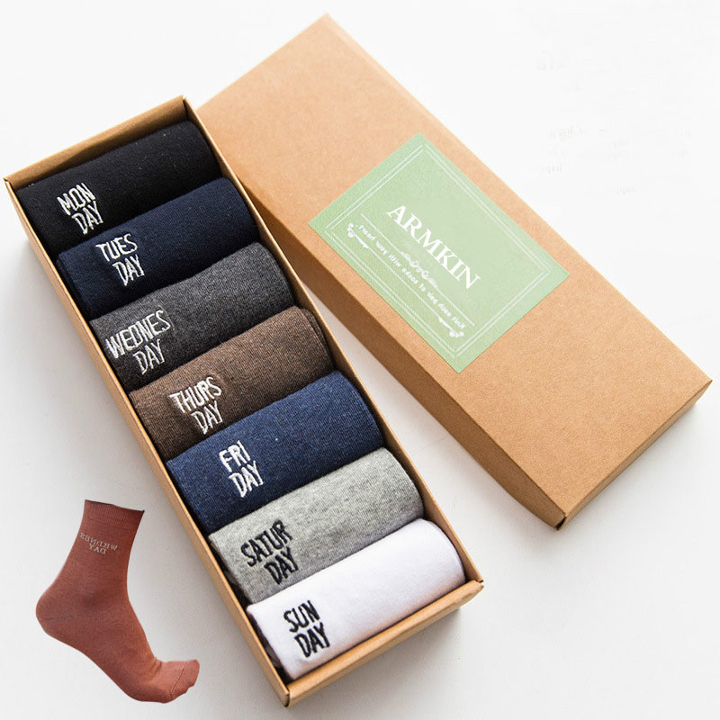 ARMKIN 7 Pairs/lot Casual Business Men Socks Crew Socks Cotton Pure Color Calcetines Happy Funny Weekly Socks Chaussette Homme