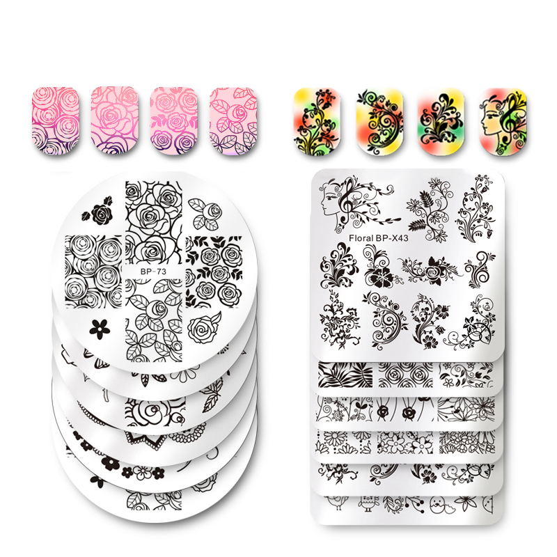 BORN PRETTY Square Nail Art Stamp Template Flower Vine Rose Leaves Floral Image Pattern Printing Plate For Manicure Stencil 6cm