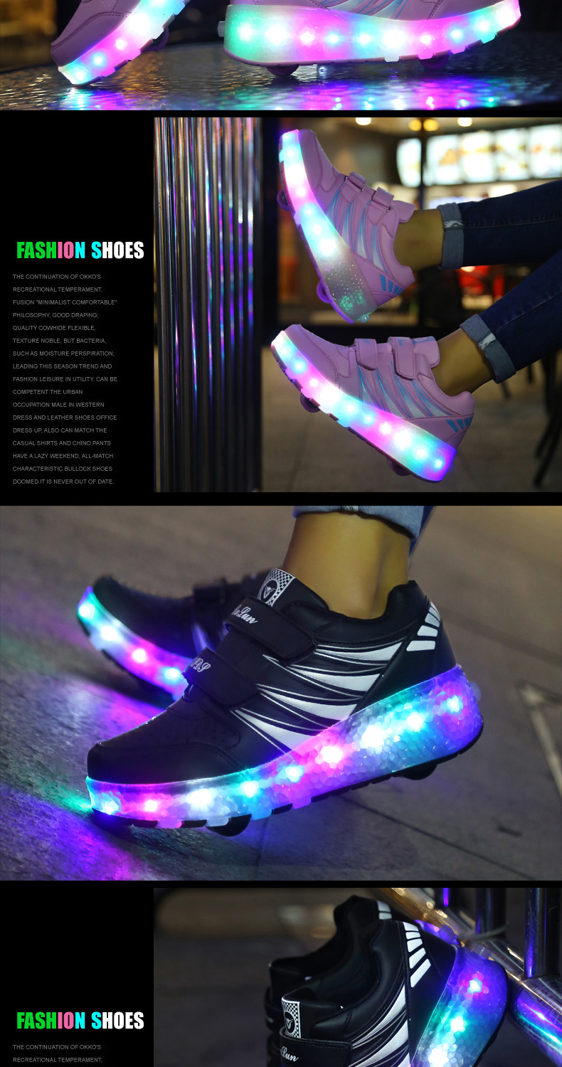 2017 Child Girls Boys Roller Skate Shoes LED Light Black Pink Children Glowing Sneakers With Wheels For Kids tenis de rodinha3