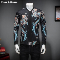 Chinese style personalized 3D dragon pattern printing fashion slim jacket Autumn 2017 New quality big size coat jacket men M 5XL