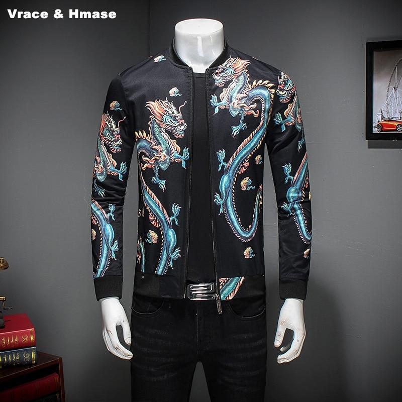 Style chinois personnalisé 3D dragon motif impression mode slim veste automne 2017 nouvelle qualité grande taille manteau veste hommes M-5XL