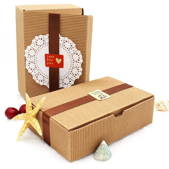 efc104cf8 20 UNIDS 18.2*12*5 CM Brown Kraft Cajas De Papel Corrugado Cajas de ...