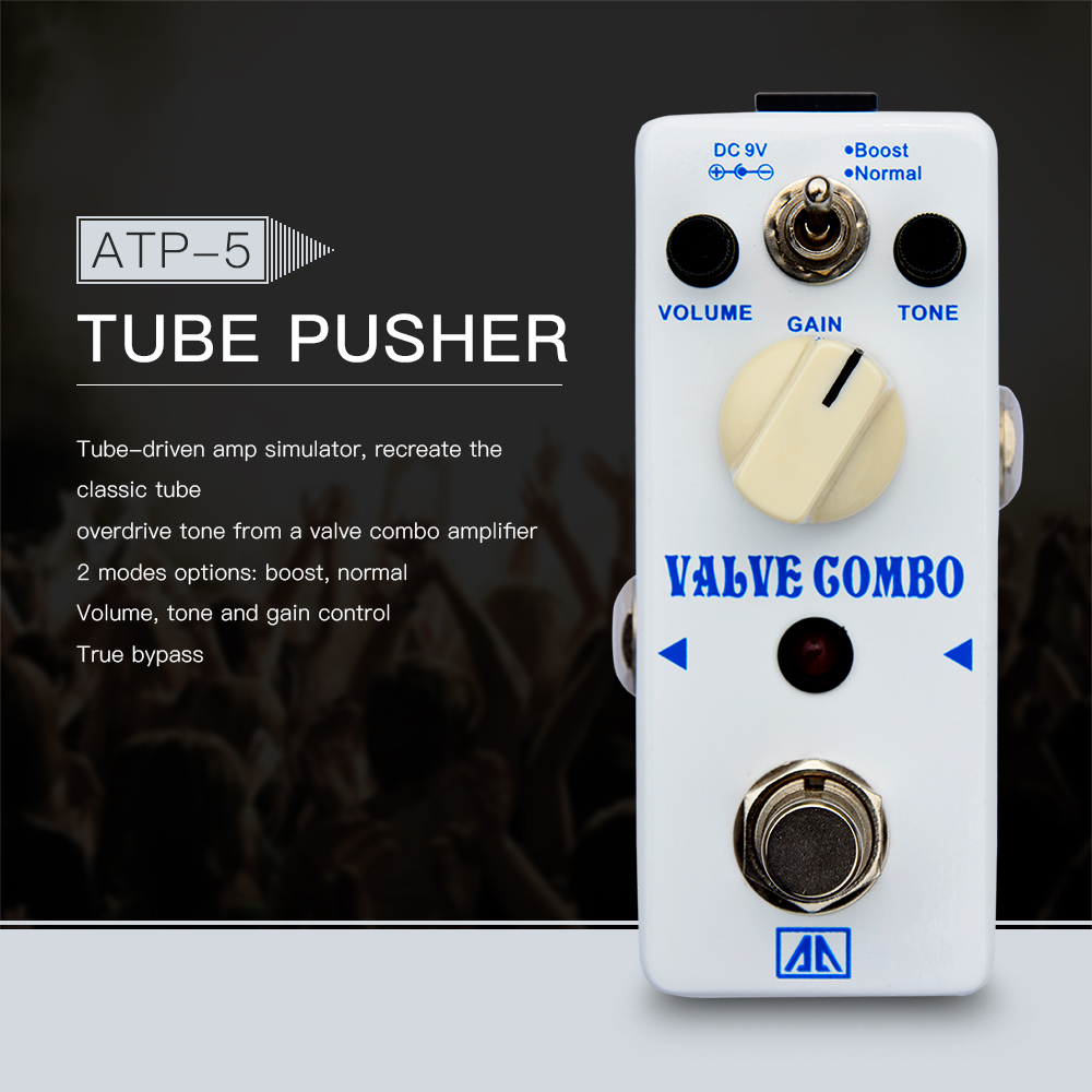 AROMA ATP-5  Valve Combo Classic Tube-driven Amp Simulation OD Guitar Effect Pedal 2 Modes Aluminum Alloy Body True Bypass aroma atp 3 tube pusher valve combo simulator guitar effect pedal mini single with true bypass guitar parts one free cable